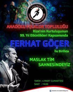 Rize'nin Kurtuluşunun 99.yılında Ferhat Göçer ile Anadolu Folklor Topluluğu Maslak TİM